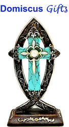 8 1 2quot; New TABLETOP Turquoise SILVER CROSS Religious FISH Christian Home Decor $15.80
