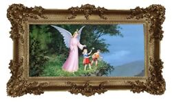Baroque Antique Painting Holy Image Angel Guardian Angel 2 Kinder Abyss