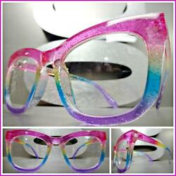Funky Exotic Retro Cat Eye Style Clear Lens EYE GLASSES Colorful Fashion Frame