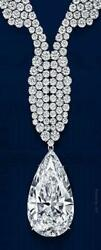52 Ct pear with round cut diamond fine necklace pendant white gold     WG13780