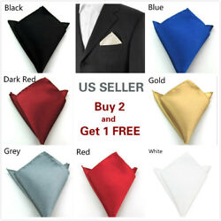 Men#x27;s Satin Silk Pocket Square Hankie Hankerchief Wedding Party Formal Suit $3.89