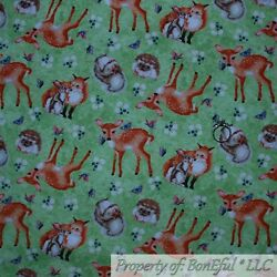 BonEful Fabric FQ Cotton Quilt Green Grass White Brown Baby Animal Hedgehog Deer