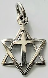 Star of David with Cross Pendant 925 Sterling Silver Multi Religion $15.95