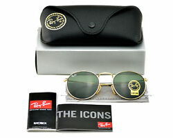 Ray-Ban RB3447 Round Metal 001 Gold Frame Green Classic G-15 Sunglasses 50mm