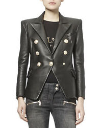 Women Natural Lambskin Leather Celebrity Inspired Leather Blazer