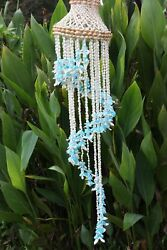 (1) Beach She Shed Decor Cascading Seashell Wind Chime Vibrant Blue Shells