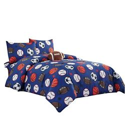 WPM Kids Collection Bedding 4 Piece Blue Twin Size Comforter Set with She... New