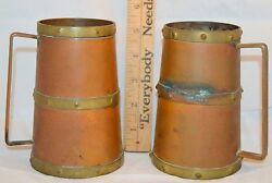 Set of 2 Vtg Copper & Brass Tankard Mugs Beer Steins w Handle Mexico 5.5