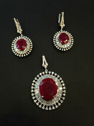 Pave 29.85 Cts Round Baguette Cut Diamonds Ruby Pendant Earrings Set In 14K Gold