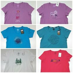 Life Is Good Women's Assorted Styles Forest Tent Flower T Shirts Multiple Sizes