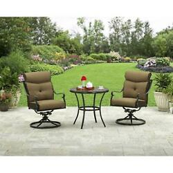 3-Piece Outdoor Bistro Set Swivel Chair W Cushions Patio Deck Garden Furniture