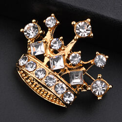 Men Clear Crystal Rhinestone Brooch Lapel Pin Crown Coat Suit Jewelry Gift QK