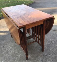 Antique Old Hickory Drop Leaf Rustic Willow Twig Dining Table