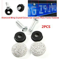 2X Diamond Crystal Covers Car Front Screw Bolt Caps License Plate Frame Fastener $11.10