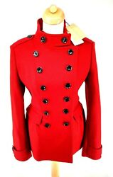 BNWT Burberry Military Pea Trench Coat Red Peplum IT 46 UK 14 V Wool Cashmere