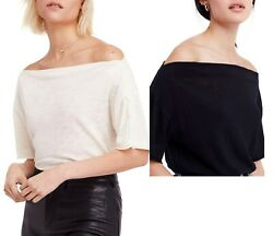 Free People Top She's So Cool Off the Shoulder XS  S  M L ivory black