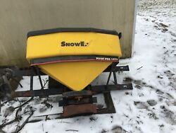USED. yellow and black. Snowex salt box. Fair condition (has some rust from salt