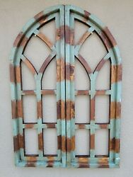2 Wooden Antique Style Church WINDOW Frame Shutters Wood Gothic 36