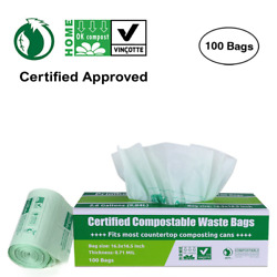 Primode 100% Compostable Bags 2.6 Gallon Food Scraps Yard Waste Bags Extra 0.71 $14.99