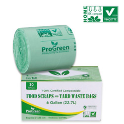 ProGreen 100% Compostable Bags 6 Gallon Extra Thick 0.87 Mil 30 Count Small $19.99