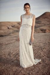 Phase Eight Hope Ivory Sequin Lace Trail Bridal Wedding Gown Dress