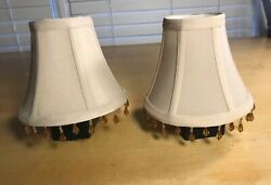 Pair 2 of Cream Mini Lamp Shades Softback with Beaded Fringe 5quot; $13.99