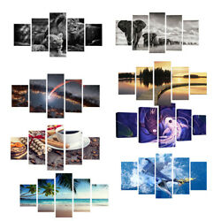 5Panels Wall Art Painting On Canvas about Landscape Animal Food for Wall $25.14