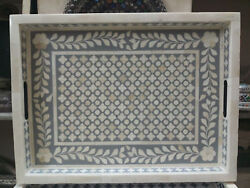 Bone Inlay Wooden Modern Antique Handmade Kitchen Serving Tray Gray $145.06