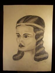 Early She-Male Portrait 1943 Original Pencil Sketch By C. Kelm
