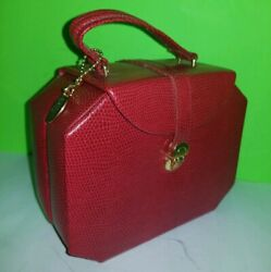 Wolf Designs 281204 Heritage Red Leather Travel Mini Foldout Jewelry TRINKET Box