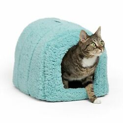 Best Friends by Sheri Pet Igloo Hut Sherpa Teal - Cat and Small Dog Bed Offer...