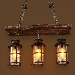 Farmhouse Wood Beam Island Hanging Pendant Light Chandelier with 3 Glass Cages $149.00