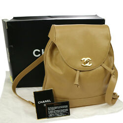 Authentic CHANEL CC Logos Backpack Beige Caviar Skin Vintage GHW GOOD RK12878e