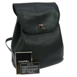 Authentic CHANEL CC Logos Backpack Black Caviar Skin Vintage B31806a