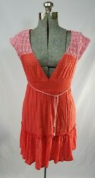 Free People Maxi Crocet Cap Sleeve Coral Pink Belted Sun Dress Plunge Size 0