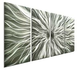 Abstract Art Metal Wall Hanging Modern Silver Contemporary Decor WOW $195.00