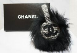 CHANEL Tweed x Fox Fur Earmuffs Headband New Condition A366