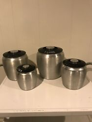 Vintage Kromex Aluminum Canister Set 4 Flour Sugar Coffee Tea Black Covers