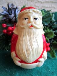 VINTAGE CELLULOID VISCOLOID SANTA CLAUS WEARING EAR MUFFS WOBBLER TOY DECORATION