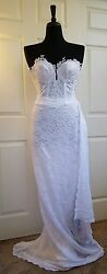 Pure White Corded Lace Sweetheart Corset Wrap Skirt Dress Bridal Wedding Gown