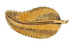 Estate Heavy Solid 18k Yellow Gold Detailed and Textured Feather Pin