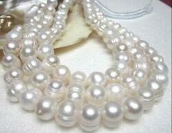 Beautiful 48 inch 9-10mm white  akoya natural pearl necklace   yellow