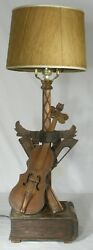 Vintage Folk Art hand carved Violin book table Lamp Rewired antique lamp musical $299.00