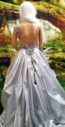 TONYA 2pc Silver Baroque Lace Backless Mini Dress & Lame' Wedding Ballgown