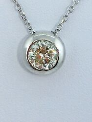 """1.50 ct NATURAL DIAMOND solitaire pendant 18"""" necklace SOLID 14k white GOLD"""