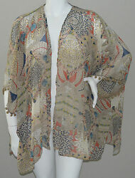 Umgee USA Plus Boho Tribal Kimono Wrap Jacket w Pom Pom Trim XL amp; 1XL New $26.95