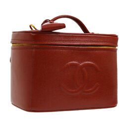 Auth CHANEL CC 2way Cosmetic Vanity Hand Bag Red Caviar Skin Leather AK27706