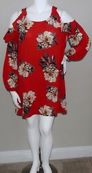 Umgee USA Ruffle Cold Shoulder Floral Dress Red Plus XL amp; 2XL New $24.25