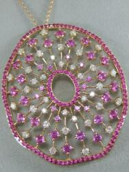 MODERN DIAMOND RUBY PINK SAPPHIRE 14K ROSE GOLD OVAL CLUSTER NECKLACE #N600003RP
