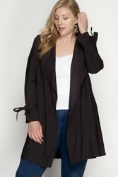 She + Sky Trench Coat Jacket w Sleeve Ties - Black - Plus XL & 2XL - New!